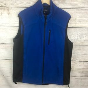 Saks Fifth Avenue blue full zip fleece vest